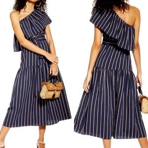 NEW Topshop Sicily One Shoulder Stripe Midi